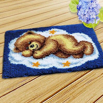 (Bear Latch Hook Rug Kits DIY Pillow Mat Rug Making for Kids Adults Beginners)