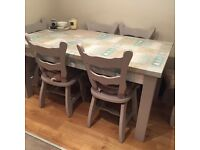 6 solid oak chairs and pine table