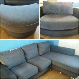 Corner sofa Love chair and foot stool