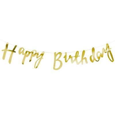 90s Themed Decorations (Gold Foil Happy Birthday Bunting Garland Black Gold Themed Party 90s)