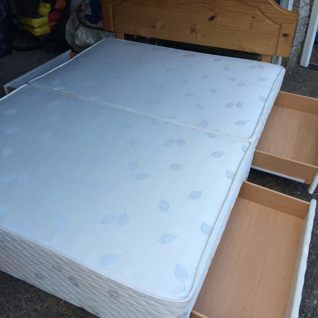 King size sprung box divan with built in drawers plus for King size divan with drawers