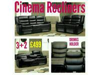 Leather 3+2 Corner Cinema Recliner Sofas