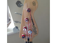 Vintage (make) V4 Bass Guitar with stand, effects unit and mini amp