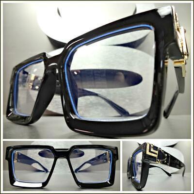 OVERSIZE LUXURY RETRO Style Clear Lens EYE GLASSES Thick Square Black Gold (Novelty Frames)