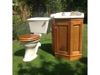 Heritage Ivory coloured corner basin and cupbooard plus toilet