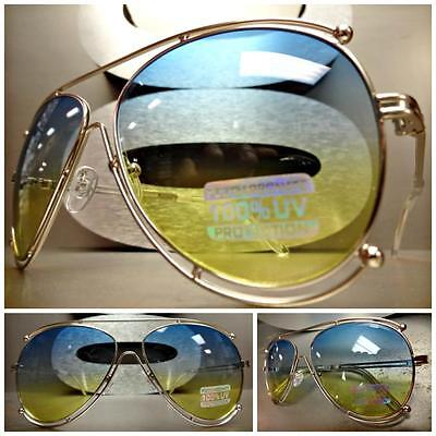CLASSIC VINTAGE RETRO Style SUN GLASSES SHADES Silver Frame Blue & Yellow Lens