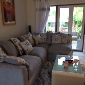 Modern grey 5 seat corner suite and 3 seater sofa