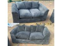 Almost new grey Cord chunky 2 and 3 seater sofa set can be delivered