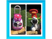 Baby and toddler stuff from £10 ( zebra 3-1 ride on, minie mouse ride on)
