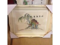 SILK EMBROIDERED PICTURES - EXCELLENT CONDITION