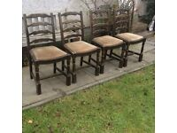 Set of 4 Solid ladder back dining chairs
