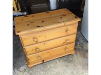 Solid Pine Chest Of Drawers With Bun Feet.