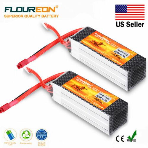 4S 14.8V 2200mAh 45C LiPo RC Battery T Plug for 1/8 1/10 RC