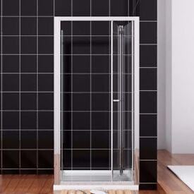 Bi Fold Shower Glass Door 800mm x 1850mm