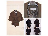 Dark Green Marc New York Italian Textured Wool Belted Cape_US S_UK8_£25