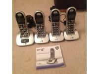 BT 4000 Big Button Cordless telephone with 4 handsets
