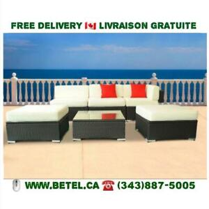 Brand New | 6 pc or 7pc Gorgeous Wicker Patio Set Outdoor Sectional Sofa Set