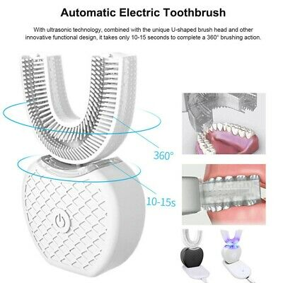 Automatic 360°Electric Sonic Toothbrush Teeth Brush Whitening Oral Care White