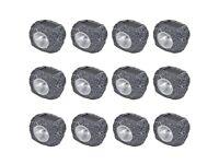 Outdoor Solar Powered LED Spotlight Stone Shape 12 pcs-41168