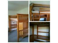 Solid Pine Bunk bed With Desk android Wardrobe