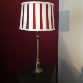 Laura Ashley brass lamp with red/cream silk lampshade