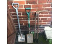 Garden tools spades and loppers