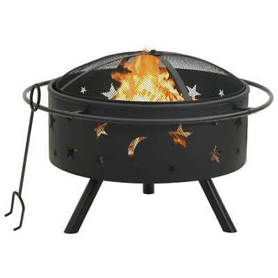 vidaXL Fire Pit with Poker 76 cm XXL Steel Fire Bowl Patio Heater Home Garden