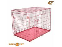 """Cozy Pet Dog, cat Cage 42"""" Pink High Quality Carrier for £20"""