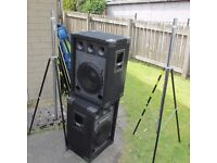 1 Pair KAM 300W. Cabinet Speakers with Tripod Chrome Stands