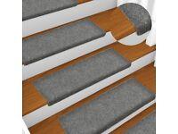 Stair Mats 15 pcs Needle Punch 65x25 cm Light Grey-134564