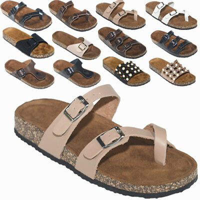 ab864ff8e7d8 Women s Slide Buckle T-Strap Cork Footbed Platform Flip Flop Shoes Sandals