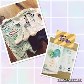 Two NEW shirts (Left 9-12m) (Right 6-9m) and 3 pairs GAP new white socks(0-3 months)+free 2Pampers