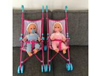 Tiny Tears Twin Dolls and Strollers
