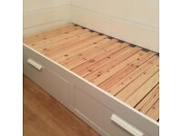 Ikea Brimnes day/ guest single bed frame with storage