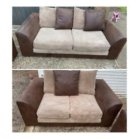 Brown and beige 3&2 seater sofas
