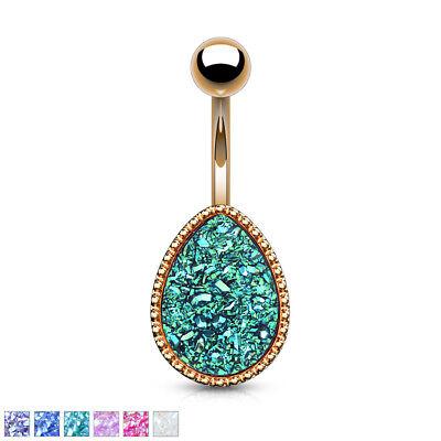 1pc Tear Drop Druzy Stone Style Rose Gold 14g Belly Ring Pierced Navel Naval Gemstone Navel Ring