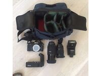 Nikon FA analog camera incl 2 lenses, flash and drive