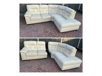 Harveys cream leather corner sofa