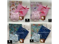 Baby Gift Set Hat, Bib, Booties, Mittens, Gift Bag, Wrapping Paper & Label