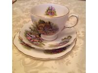 Pretty bone China tea cup, saucer and plate Royal vale design