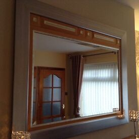 Large wood and silver mirror
