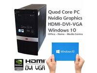 Quad Core Home/Office PC with Nvidia Graphics - HMDI/DVI/VGA - Windows 10