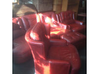 Very Nice Italian 3 piece Red Leather Suite & Footstool