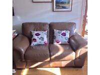 Granfort 2 brown leather 2 seater sofas & 1 Armchair, vgc condition, no rips or snags in leather