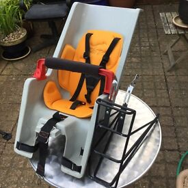 Baby's CoPolit bicycle seat with Blackburn pannier rack