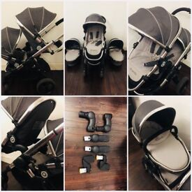icandy peach 3 twin pushchair truffle great condition