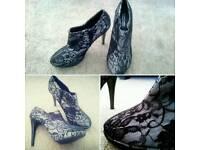 Metallic Lace Heels
