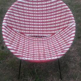 Vintage retro 50s basket weave tub chair