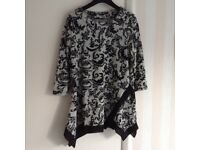 Ladies long top, patterned, in black and light grey, size 10, excellent condition