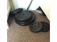 Barbell weights with bar and bench